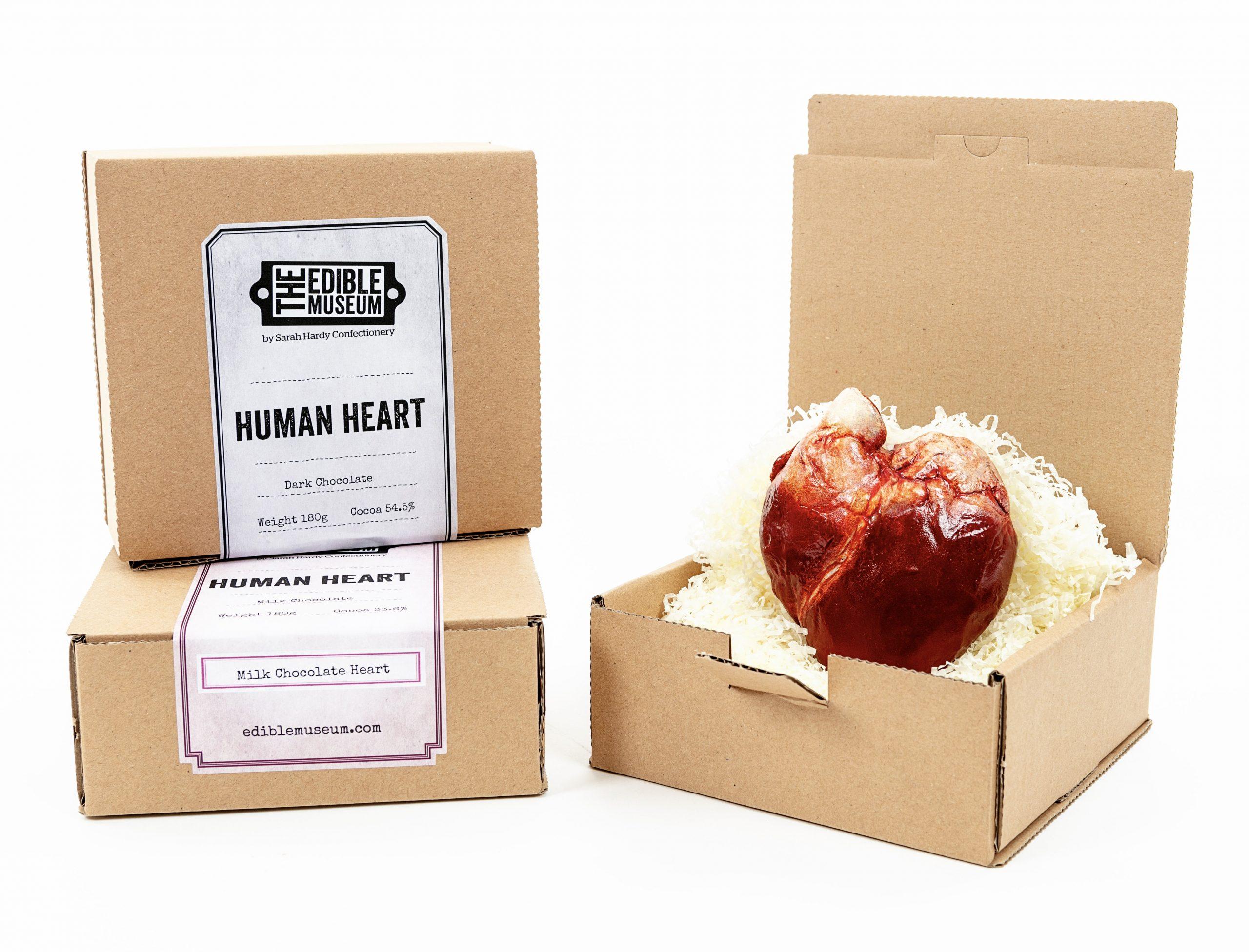 Chocolate Human heart in box